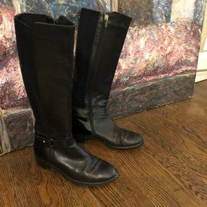 Aquatalia black leather and stretch boot, 6 1/2